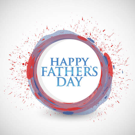 happy fathers day colorful ink sign illustration design over a white background