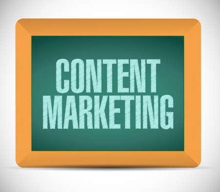 content marketing sign message illustration design over a white background