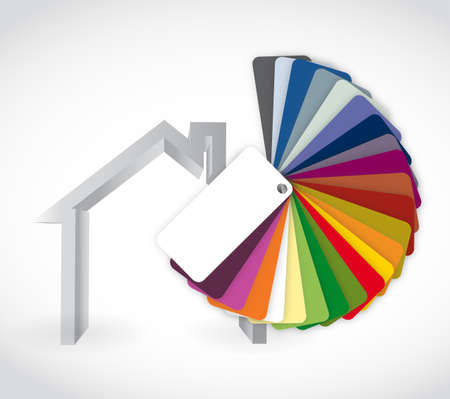 paint can: home and color guide icon illustration design over a white background