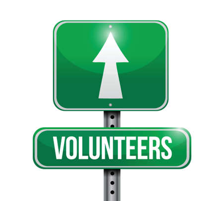volunteers street sign illustration design over a white background Imagens