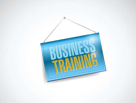 business training hanging banner illustration design over a white background
