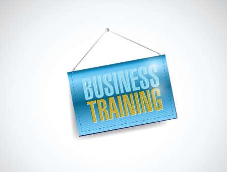 business training hanging banner illustration design over a white background