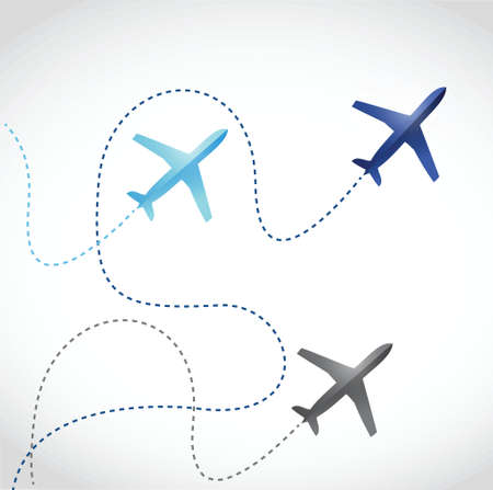 fly routes and airplanes. illustration design over a white background Vector