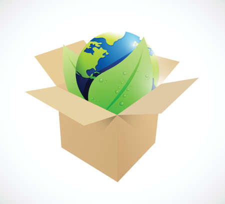 brown box: globe and leaves inside a brown box. illustration design over a white background