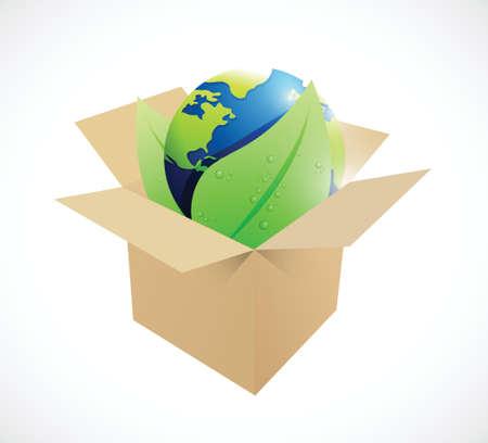 brown box: globo e foglie all'interno di una scatola marrone. design illustrazione su uno sfondo bianco Vettoriali