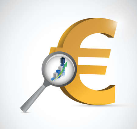 euro currency review illustration design over a white background 向量圖像