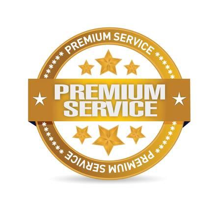 プレミアム サービスのゴールドは白地にイラスト デザインをシールします。