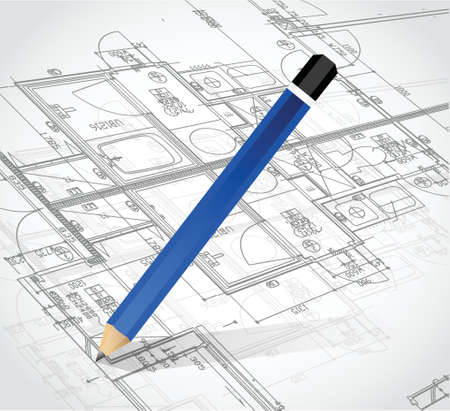 drafting tools: drawing pencil and blueprints. illustration design over a white background Illustration