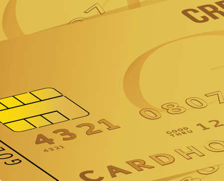 bankcard: gold credit card business close up illustration design background
