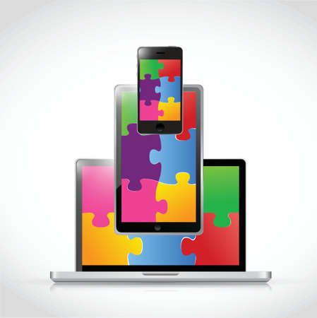 medium group of people: electronics puzzle pieces tablet screen illustration design over a white background