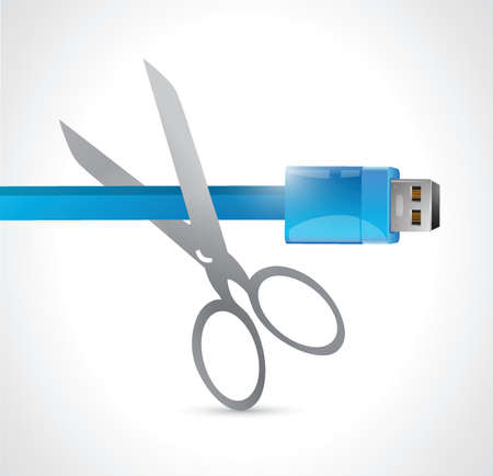 cutting a usb cable.illustration design over a white background