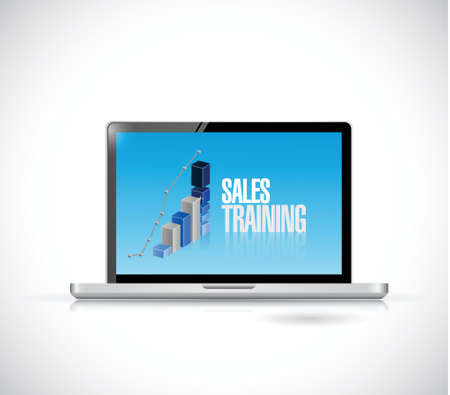 sales strategy: computer sales training illustration design over a white background
