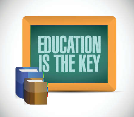 education is the key sign illustration design over a white background Stock Illustratie