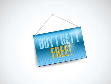 get one: buy one and get one free hanging banner illustration design over a white background