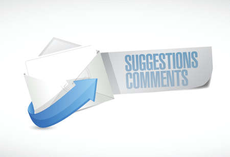 submission: comments and suggestions email sign illustration design over a white background