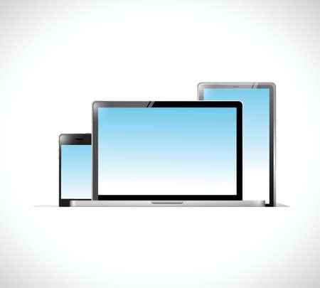 Elektronik im Inneren einer Tasche. Illustration, Design über einem weißen Hintergrund Illustration