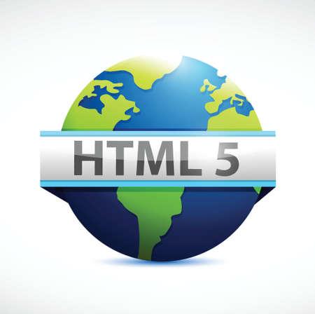html: html 5 globe sign illustration design over a white background Illustration
