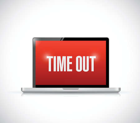 time out: time out computer message illustration design over a white background