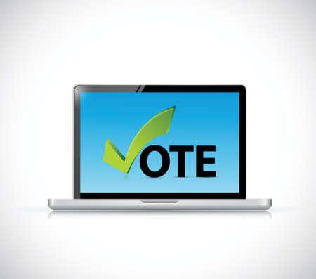 vote online computer concept illustration design over a white background Vector