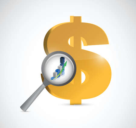 dollar currency review illustration design over a white background