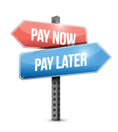 nu betalen of betalen illustratie ontwerp later teken op een witte achtergrond