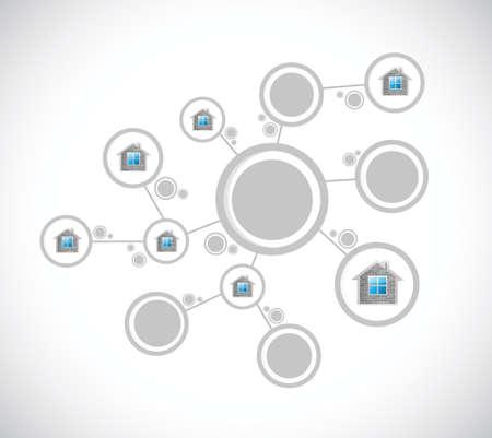 real estate investment: home diagram network illustration design over a white background