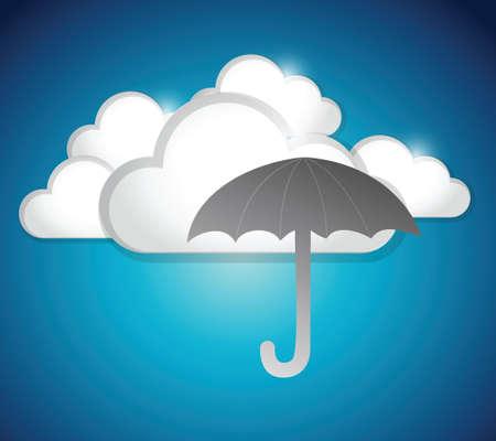 clouds and umbrella illustration design over a blue background Vector