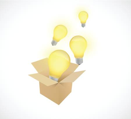 constraints: box and light bulbs illustration design over a white background