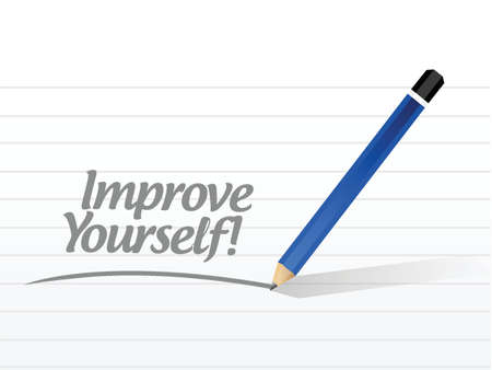 yourself: improve yourself post illustration design over a white background