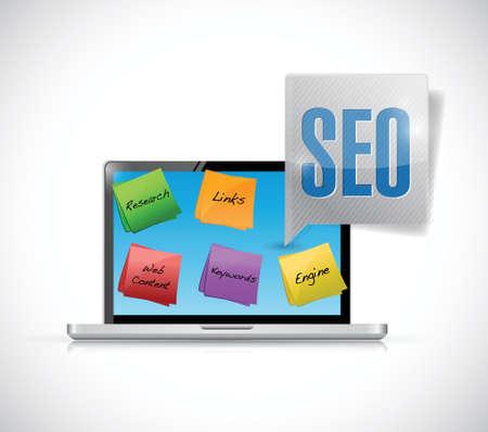 keywords link: computer seo posts illustration design over a white background Illustration