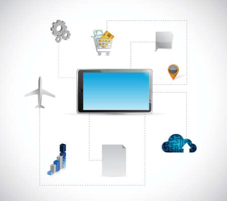 tablet tools and connection illustration design over a white background Vector