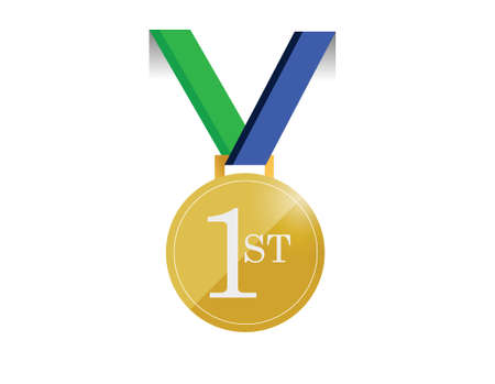 green and blue first place medal illustration design over a white background
