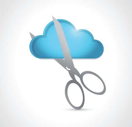 cutting a cloud. illustration design over a white background