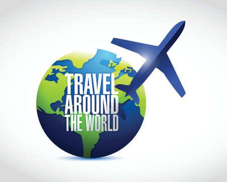 travel around the globe illustration design over a white background Vector