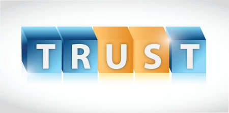 trust us cubes illustration design over a white background Illusztráció