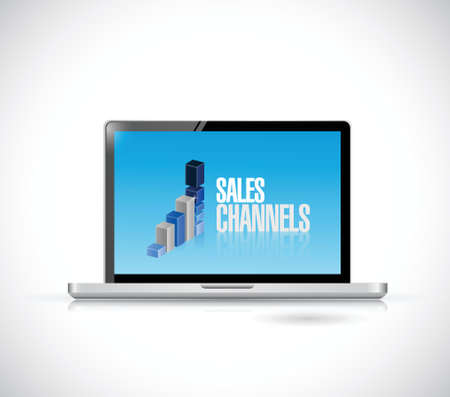 computer sales channels illustration design over a white background Vector