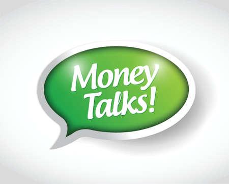 conversaciones: dinero habla mensaje burbuja diseño ilustración sobre un fondo blanco