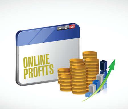 online profits concept illustration design over a white background Stock Vector - 29257546