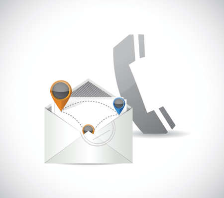 phone and email network communication illustration design over a white background Vector