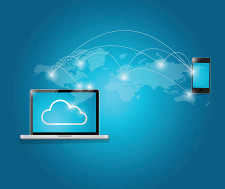 security monitor: computer and smart phone cloud computing illustration background