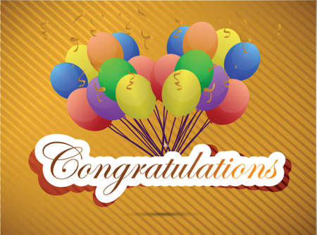 acclaim: congratulations balloon card. illustration design over a gold background