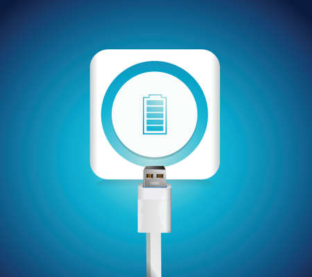 power cables: battery illustration design over a blue background