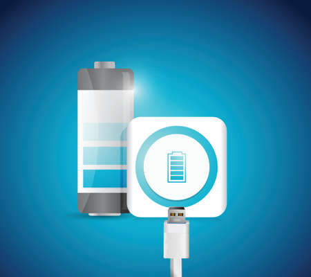 power cables: battery charge illustration design over a blue background