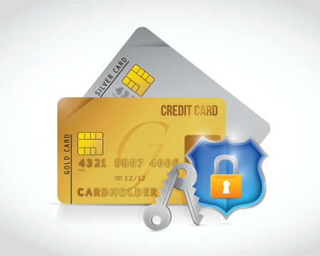credit secure cards shield lock protection illustration design over a white background Vector