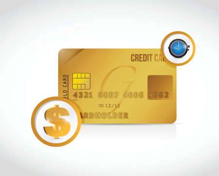 changes in equity: credit card money and time concept illustration design over a white background