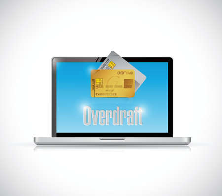 overdraft: Overdraft web business banking computer illustration design over a white background