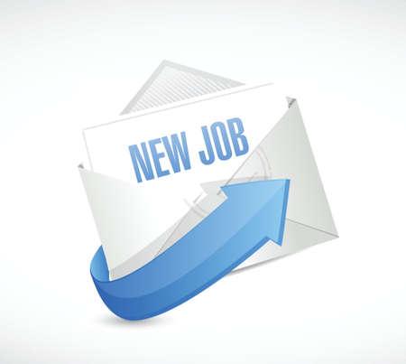 new job email envelope illustration design over a white background Vector