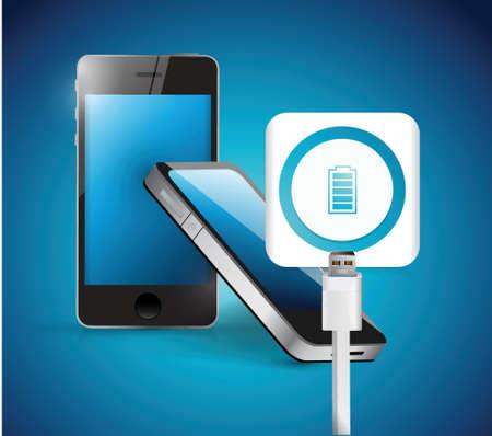 cell charger: recharging smart phone illustration design over a blue background