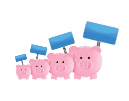 economize: pigs and signs economy graphic illustration design over a white background