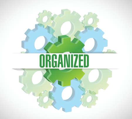 georganiseerde tandwielen achtergrond illustratie ontwerp op een witte achtergrond